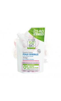 Recarga Gel de ducha ecológico Protector Aloe Piel sensible (Sin Sulfatos) - SO'BiO étic - 650 ml.