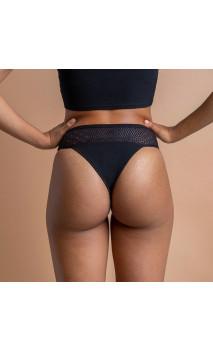 Tanga MOERI Negro - Escaso - Tanga menstrual Algodón Orgánico GOTS  - Cocoro Intim - 1 unidad