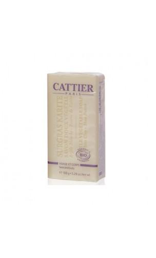 Jabón vegetal ecológico Karité para pieles secas/sensibles - Cattier - 150 gr.