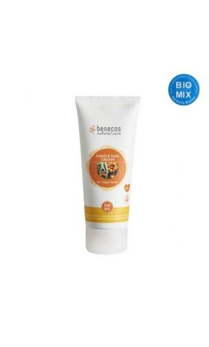 Crema de manos y uñas ecológica For happy hands Espino amarillo & Naranja - Benecos - 75 ml.