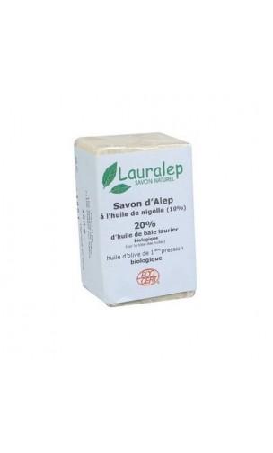 Savon d'Alep bio à l'huile de Nigelle (Cumin noir) et Laurier 20% - Lauralep - 150 gr.