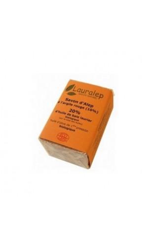 Jabón de Alepo bio con Arcilla roja y Laurel al 20% - Lauralep - 150 gr.