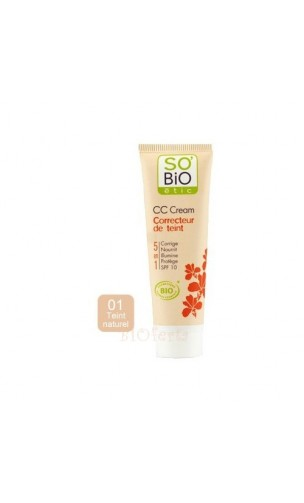 CC Cream ecológica Perfecteur de teint 01 Teint Naturel - So'Bio Étic - 30 ml.