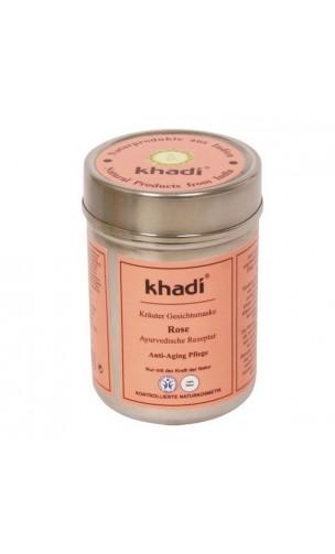 Masque visage BIO Rose Anti-âge Peau sèche, sensible et mature - Khadi - 50 gr.