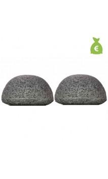 2 x Esponja Konjac Original con Carbón de bambú Piel grasa y acneica - KONGY - 25 gr.