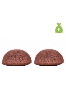 2 x Éponge Konjac Originale à l'argile rouge Peau sèche et sensible - KONGY - 25 gr.