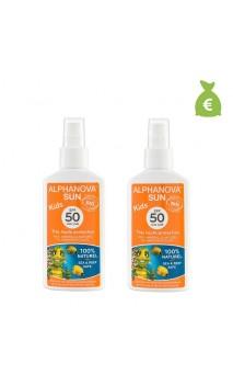 2 x Spray solar natural para niños factor 50 - Alphanova Sun niños - 125 gr.