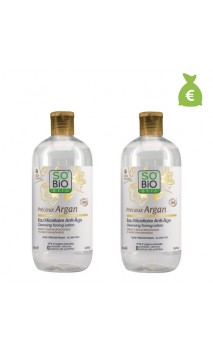 2 x Agua micelar antiedad ecológica Précieux Argan - SO'BiO étic - 500 ml.