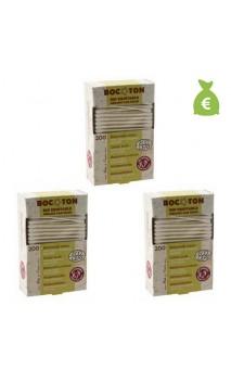 3 x Bastoncillos para el oído de algodón bio - BOCOTON - 200 Ud.