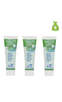 3 x Gel dentifrice bio menthe douce Logodent Kids - Sans fluor - LOGONA - 50 ml.