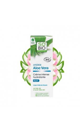 Crème visage bio Hydratante Intense (Nuit) Hydra Aloe vera - So'Bio Etic - 50 ml.