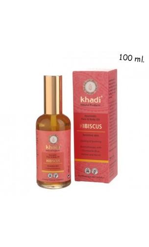 Huile bio visage & corps Hibiscus - Peau sensible - Khadi - 100 ml.