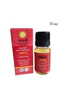 Huile bio visage Hibiscus - Peau sensible - Khadi - 10 ml.