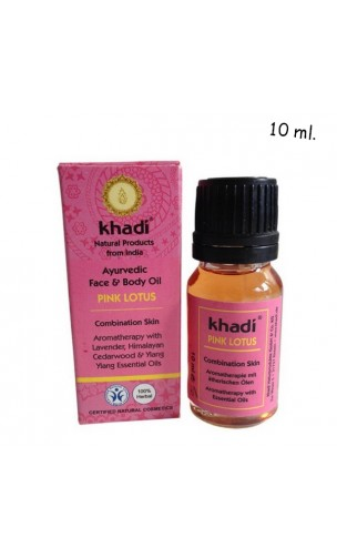 Huile bio visage Lotus Rose Peau mixte - Khadi - 10 ml.