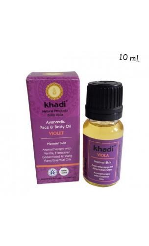 Aceite Facial ecológico Violeta Piel normal - Khadi - 10 ml.