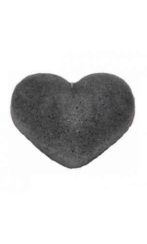 Esponja Konjac Original con Carbón de bambú Piel grasa y acneica - Corazón - KONGY - 25 gr.