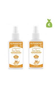 2 x Spray solaire naturel pour bébé facteur 50 - Sans parfum - Alphanova Sun Bébé - 125 gr.