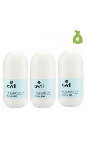 3 x Déodorant roll-on BIO Aloe vera - Avril - 50 ml.