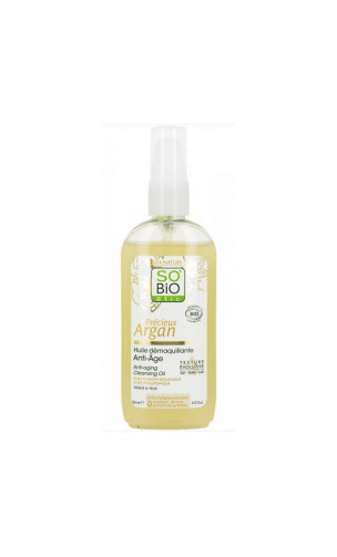 Huile démaquillante anti-âge BIO Précieux Argan - So'Bio Etic - 150 ml.