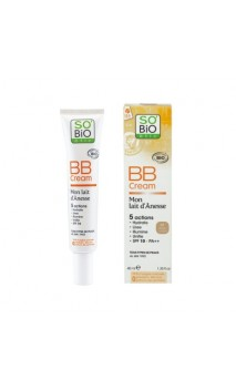 BB Cream nº1 ecológica de leche de burra (beige lumineux) - Crema con color - FPS 10 - Mon Lait d'Anesse SO'BiO étic - 40 ml.