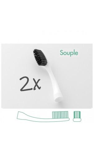 Têtes interchangeables pour brosse à dents adultes (x 2) avec capuchon protecteur - Edith Soft - Bioseptyl