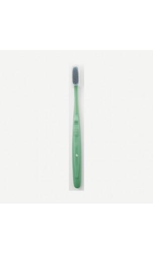 Brosse à dents Adulte Medium, Recyclée & Recyclable - Capuchon protecteur - Verte - Bioseptyl