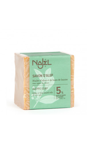 Jabón de Alepo natural Laurel al 5 - Najel - 200 g.