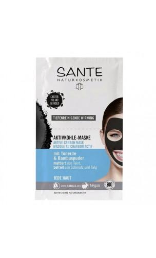 Mascarilla facial ecológica CARBÓN ACTIVO - Bambú & Arcilla natural - SANTE - (2 x 4 ml.)