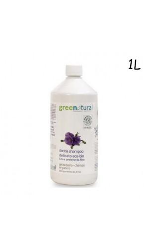 Gel de ducha y champú ecológico de lino y proteínas de arroz - Greenatural