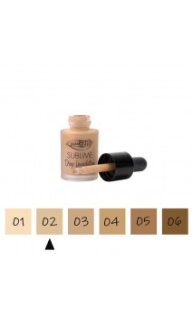 "Maquillage Fluide BIO ""Drop"" 02 Clair - FPS 10 - PuroBIO - 15 ml."