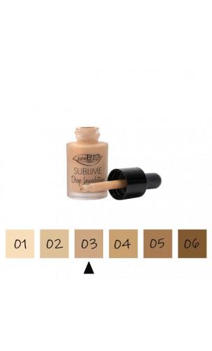 "Maquillage Fluide BIO ""Drop"" 03 Neutre - FPS 10 - PuroBIO - 15 ml."