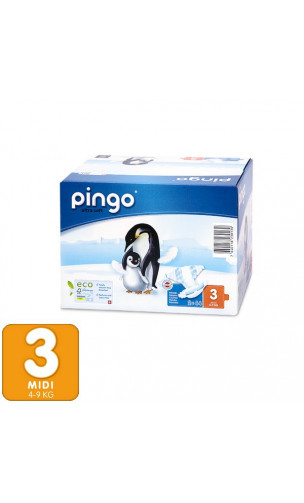 Pañales ecológicos Talla 3 MIDI 4-9 Kg- 88 unidades -2 pack x 44 ud. - PINGO