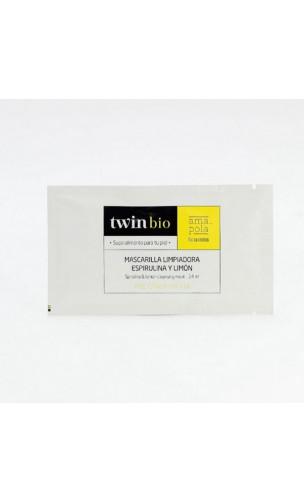 Masque bio Nettoyant Detox - Spiruline & Citron - Peau grasse/mixte - Amapola Biocosmetics - 5 x 14 ml.