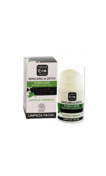 Mascarilla facial ecológica DETOX Purificante - Menta bio & Carbón activo - NaturaBIO Cosmetics - 50 ml.