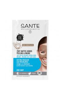 Masque visage bio & Gommage bio - Café & Coco - 2 en 1 - SANTE - (2 x 4 ml.)