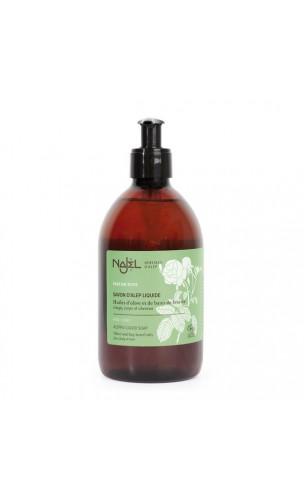 Savon d'Alep liquide BIO à l'eau florale de Rose de Damas - Najel - 200 ml.