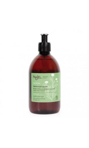 Savon d'Alep liquide BIO à l'eau florale de Camomille - Arôme Miel - Najel - 200 ml.
