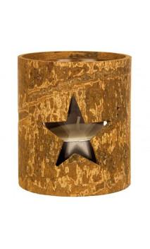 Velero con corteza natural de canela - Portavelas Redondo con estrella - Kerzenfarm
