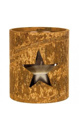 Porte-bougie en écorce naturelle de cannelle - Rond design étoile - Kerzenfarm