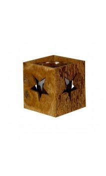 Porte-bougie en écorce naturelle de cannelle - Carré design étoile - Kerzenfarm