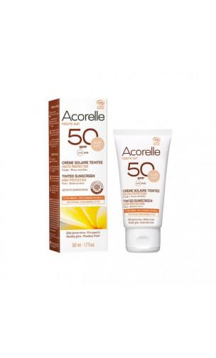Crema solar facial natural SPF 50 Sin perfume - Con color Apricot - Acorelle - 50 ml.