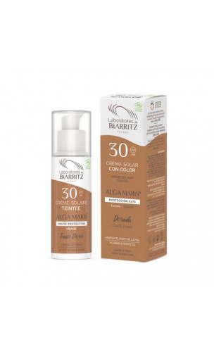 Crema solar natural Facial Color Dorado SPF 30  - ALGA MARIS -  50 ml.