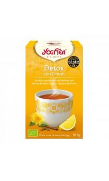 Infusion bio Yogi Tea DETOX au citron - Pissenlit, Réglisse & Zeste de citron - YOGI TEA - 17 sachets x 1,8 g.